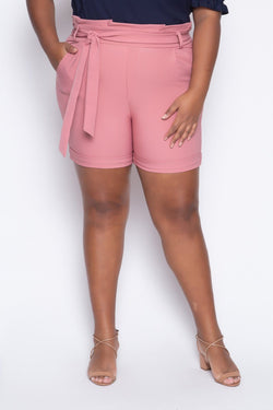 Shorts Plus Size Paperbag - Rosa Shorts Alt Brand 48