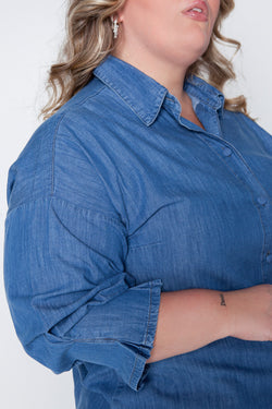 Camisa Plus Size Jeans - Azul