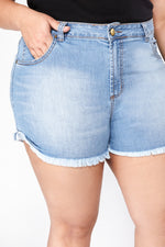 Shorts Mom Plu Size Jeans - Azul