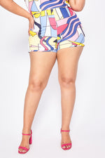 Shorts Plus Size Hot Pants Estampado - Rosa