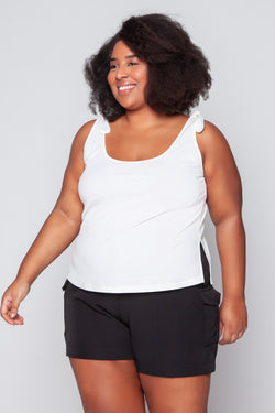 Regata Plus Size Justa Canelada com Nó - Off White