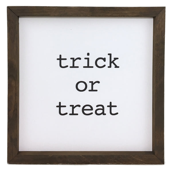 Trick or Treat Block Framed Saying
