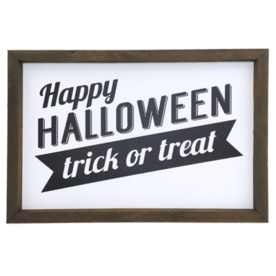 Happy Halloween Trick Or Treat Framed Saying
