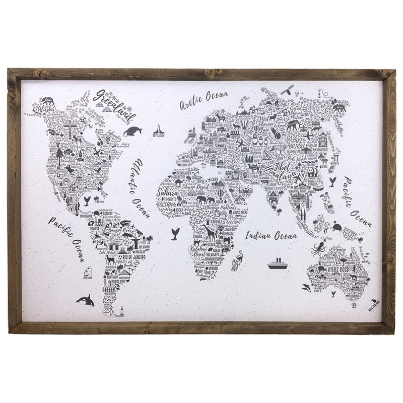 World Map <br>Framed Art