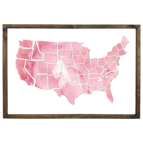 Watercolor United States Map <br>Framed Art