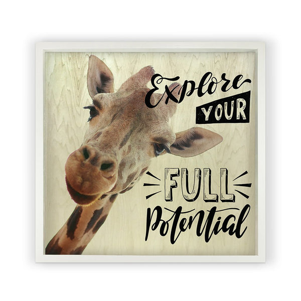 Giraffe with Saying Framed Photography