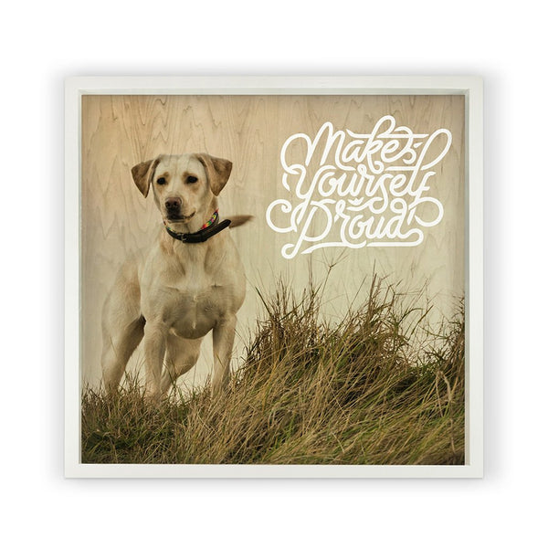 White Labrador with Saying Framed Photography