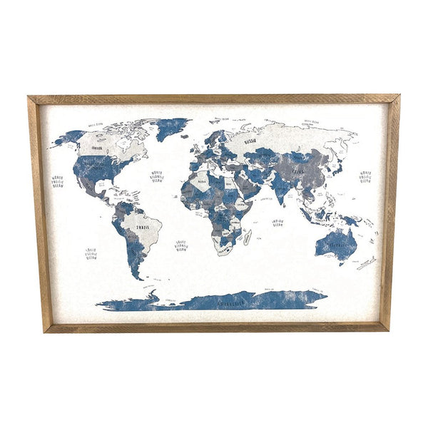 Blue World Map Pinboard