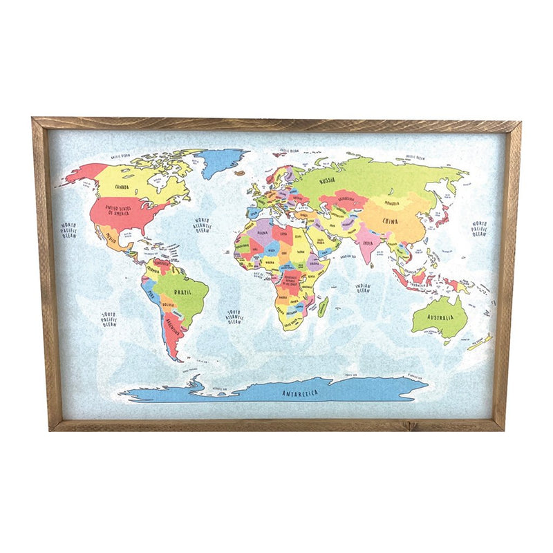 Colorful World Map Pinboard