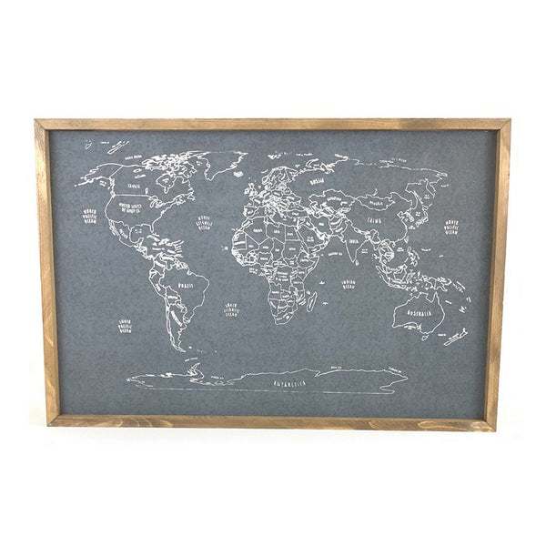 Outlined World Map Pinboard