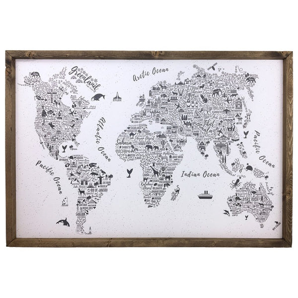 Typography World Map Pinboard