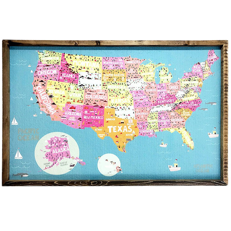 Bright US Map Pinboard