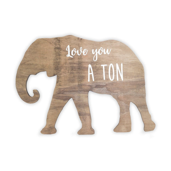 Elephant Wooden Shape with Saying