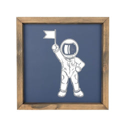 Astronaut With Flag <br>Framed Art