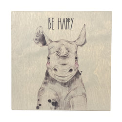 Be Happy <br>Frameless Wood Board
