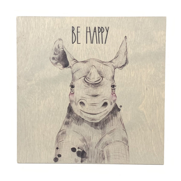Be Happy Frameless Wood Board