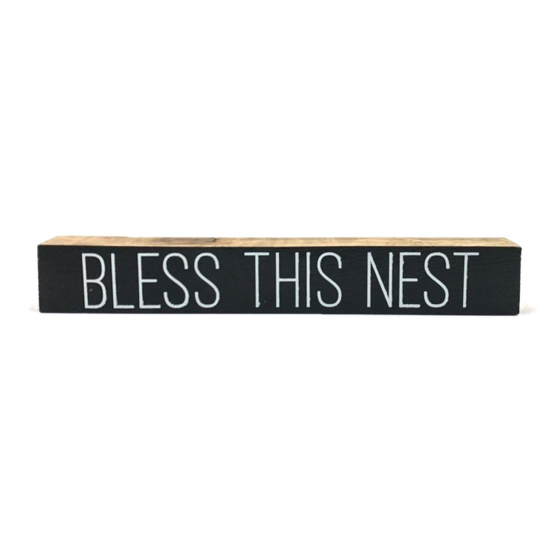 Bless This Nest Block <br>Shelf Saying