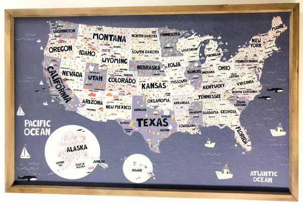 Blue US Map Pinboard