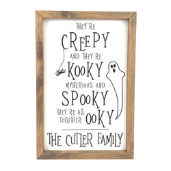 Personalized Creepy & Kooky with Ghost <br>Framed Saying