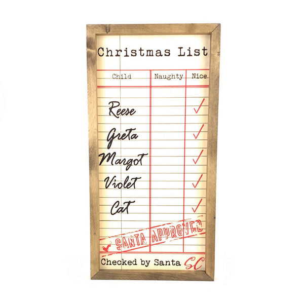 Christmas List Personalized Art