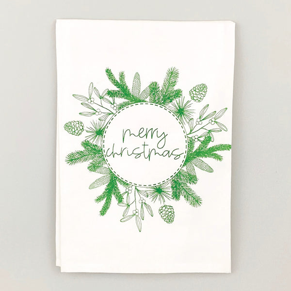Merry Christmas Wreath <br>Dish Towel