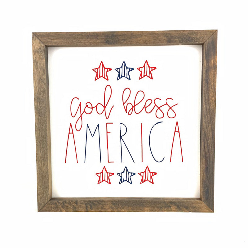 God Bless America Framed Saying