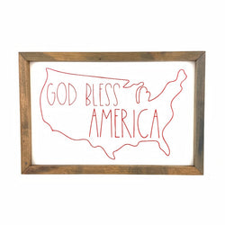 God Bless America Outline Framed Saying