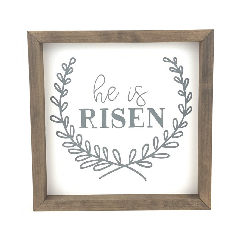 He Is Risen Wreath <br>Framed Saying
