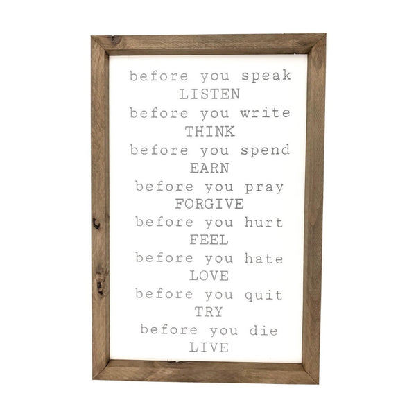 Before You... <br>Framed Saying