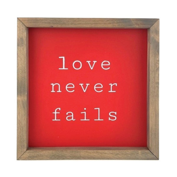 Love Never Fails <br>Framed Saying