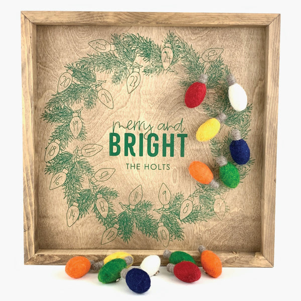 Personalized Merry & Bright Wreath <br>Magnetic Advent