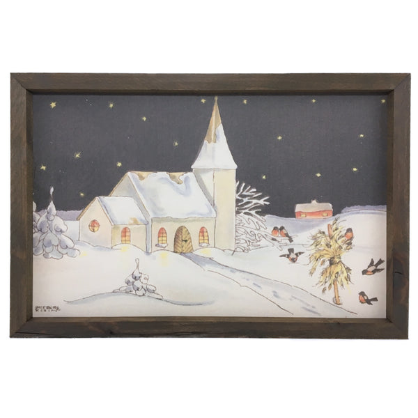 Night Church Watercolor <br>Framed Print