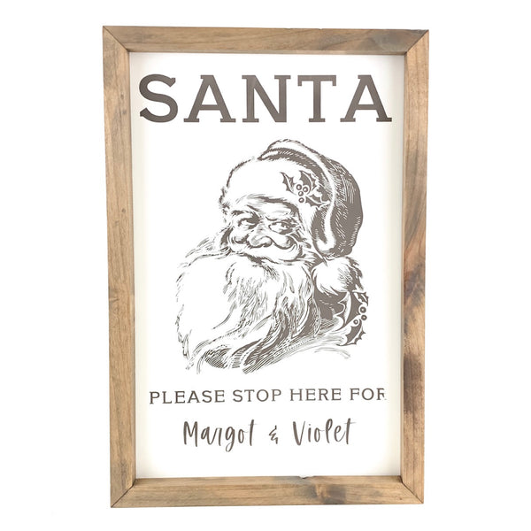 Santa Please Stop Here - Graphic <br>Personalized Framed Print