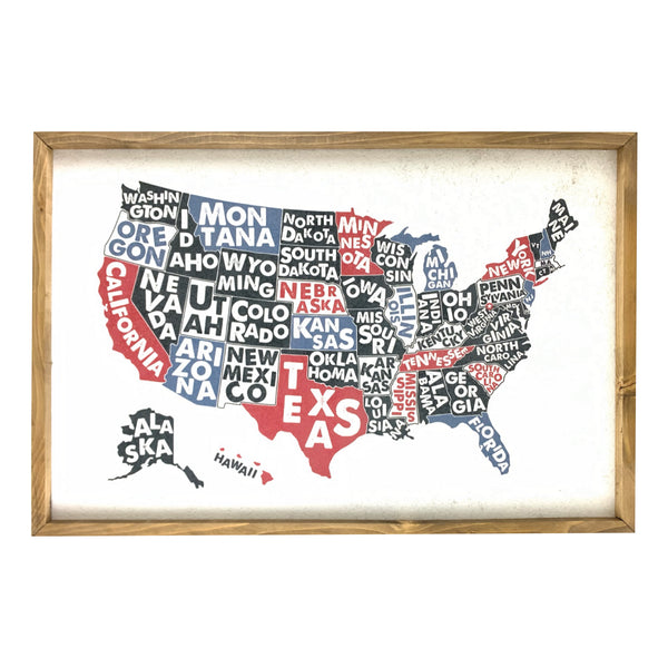 US Poster Map Pinboard