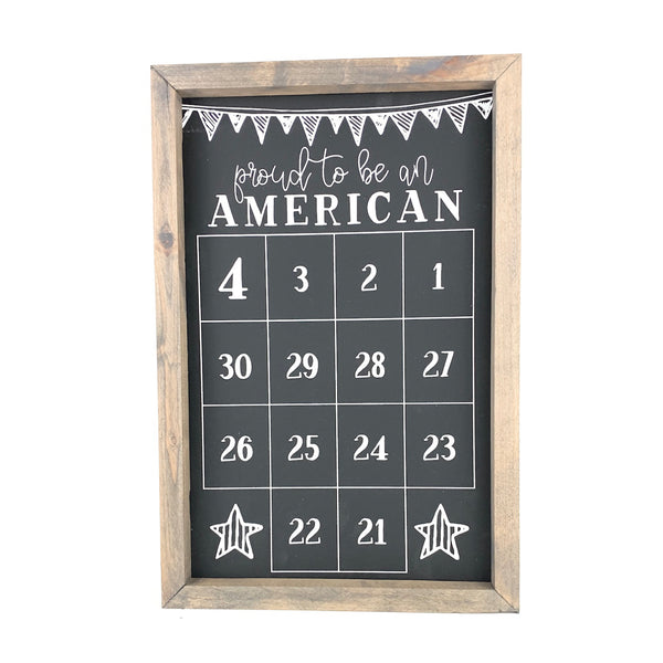 Proud to be an American <br>Fourth of July Number Countdown