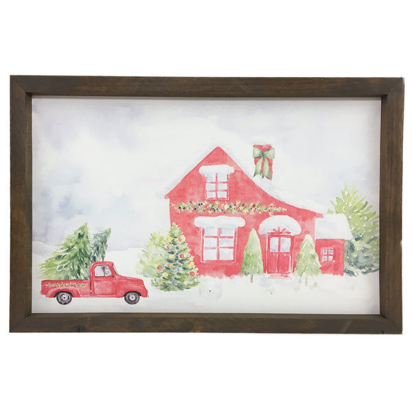 Red House Watercolor <br>Framed Print