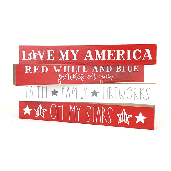 Red White and Blue Pinches On You <br>Shelf Saying