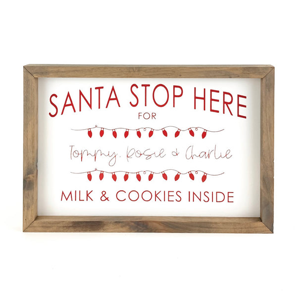Santa Stop Here - Christmas Lights <br>Personalized Framed Print