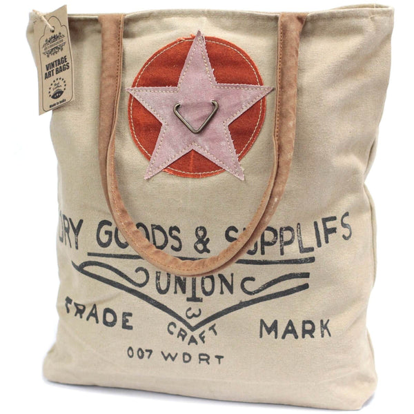 "Sac vintage fun ""  Dry Goods & Supplies ""  cuir et coton"