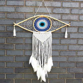 "Attrape rêves ""blue eye"" en macramé"