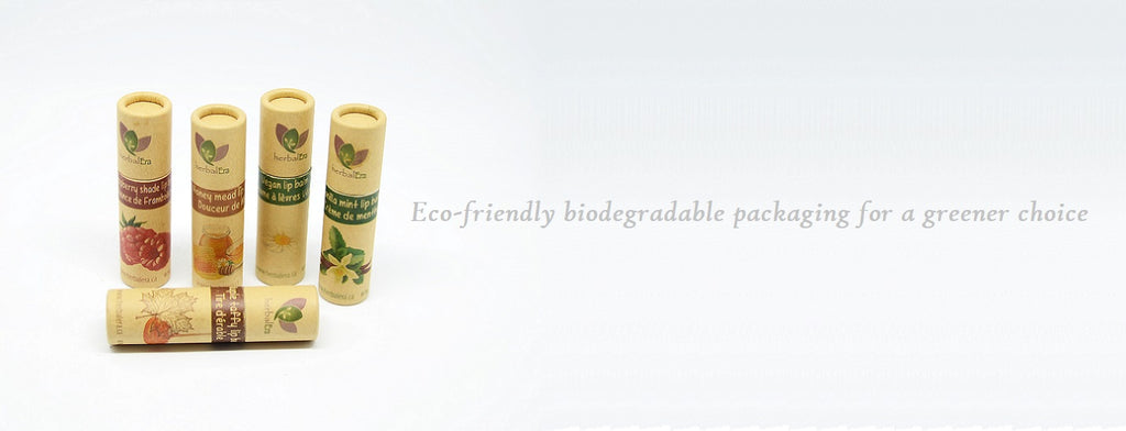 eco-friendly biodegradable packaging environment tube kraft paper natural organic lip balm chapstick cruelty-free chemical free zero waste minimalist ecological footprint fair trade skin care cosmetic products ethical local