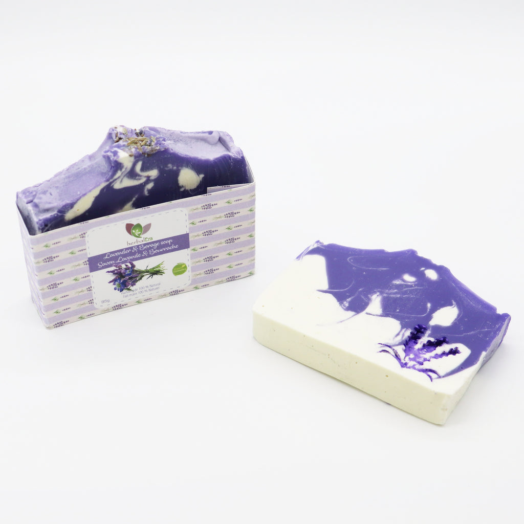 Lavender & Borage soap has relaxing and soothing properties, for both the skin and the soul. Perfect for dry and sensitive skin, this soap cleans you from impurities, and helps to regulate and moisturize your skin.