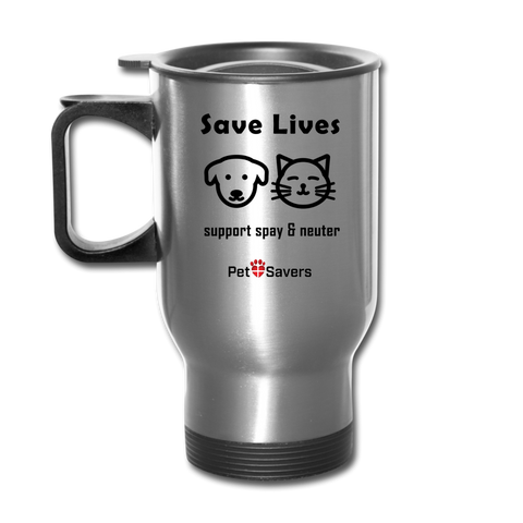 Save Lives Travel Mug 14 oz - silver