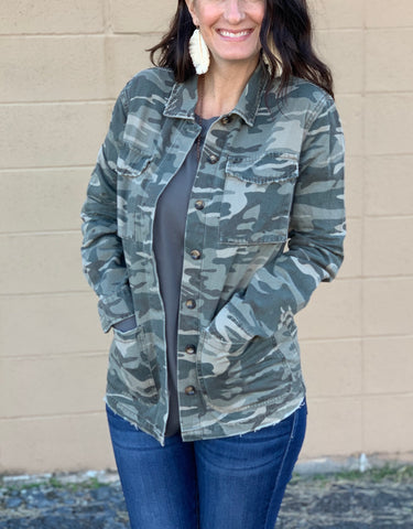 Camo Jacket with distressed detail