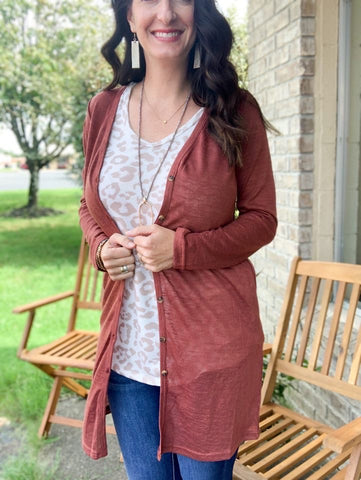 Marsala Full Length Button Down Cardigan