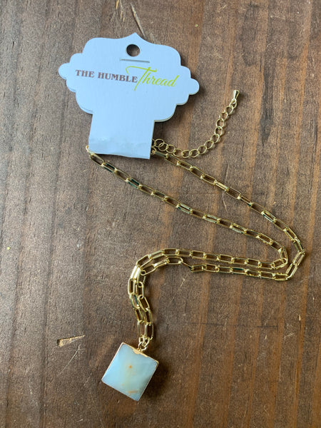 Amazonite Square Stone Pendant Necklace