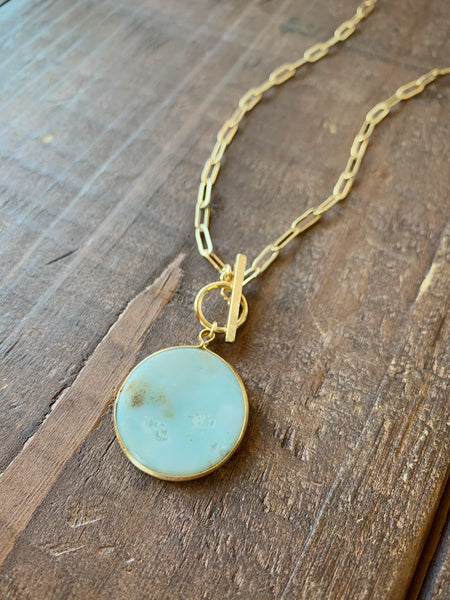 Amazonite Disc Pendant Necklace