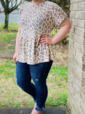 Taupe Leopard Print Babydoll Top