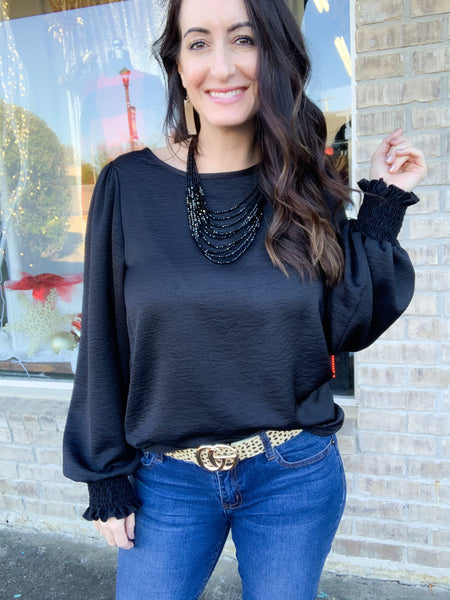 Black Satin Blouse with Cinched Sleeve