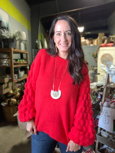 Bright Red Bubble Sleeve Sweater